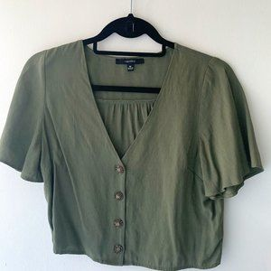 Forever 21 V Neck button Olive Green Crop Top US M